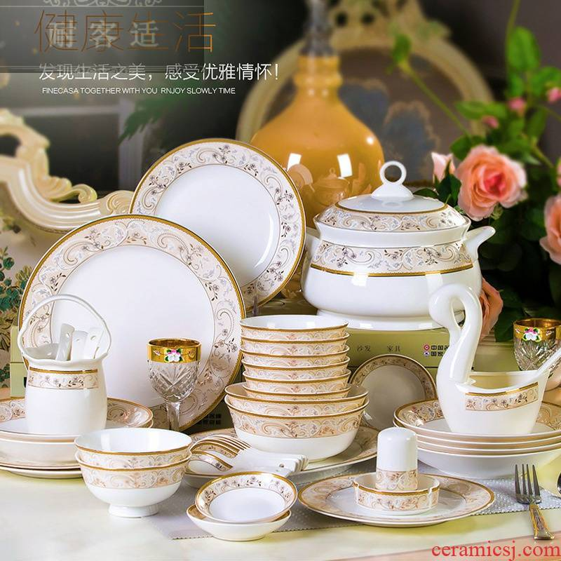 Hold to guest comfortable manufacturers shot ceramic tableware suit 56 60 skull porcelain household bowls plates suit gift set