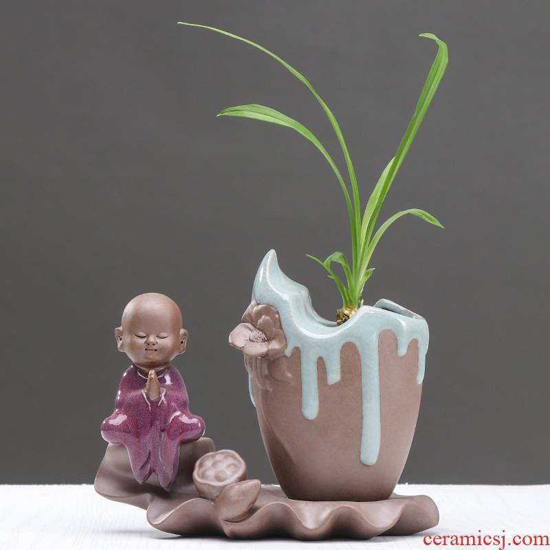 Creative copper money plant grass hydroponic vases, small and pure and fresh aquatic the plants flower pot ceramic container desktop furnishing articles