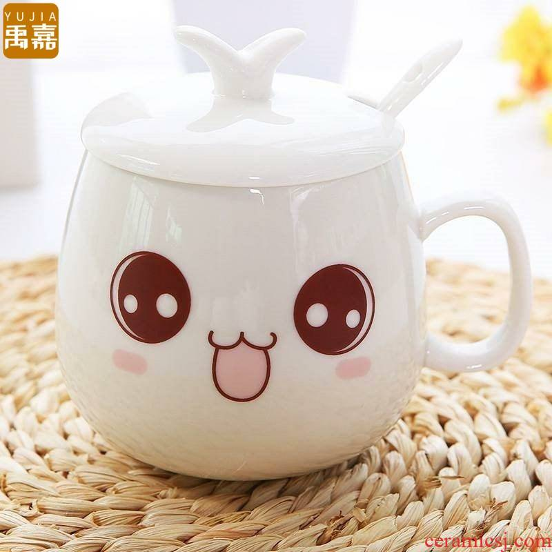 ShangYuJia creative breakfast cup couples are ceramic it cartoon cup with cover children bedroom European cup Jane