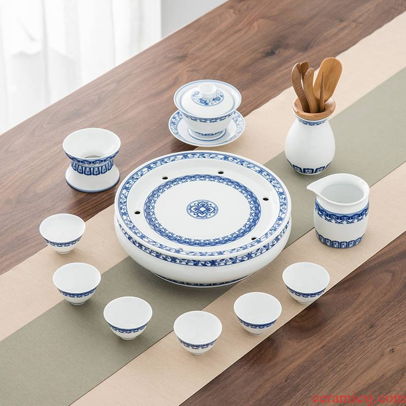Qiu time household ceramics kung fu tea green, blue and white porcelain is tureen tea cups to wash tea tray combinations of a complete set of contracted