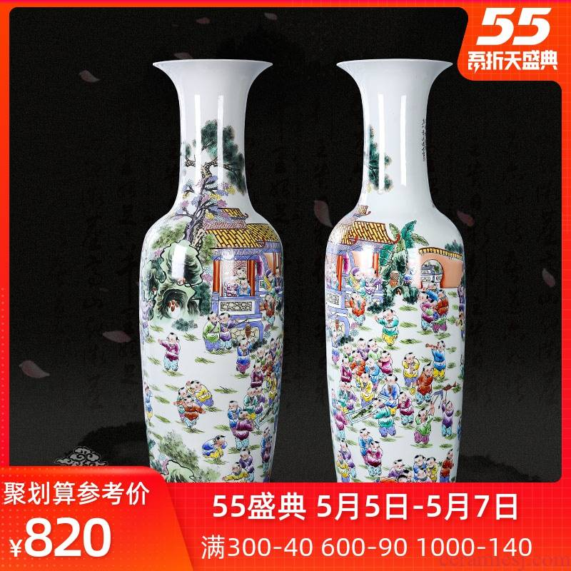 Jingdezhen ceramic powder enamel hand - made the ancient philosophers figure the lad landing a large vase sitting room furnishing articles furnishing articles of modern Chinese style