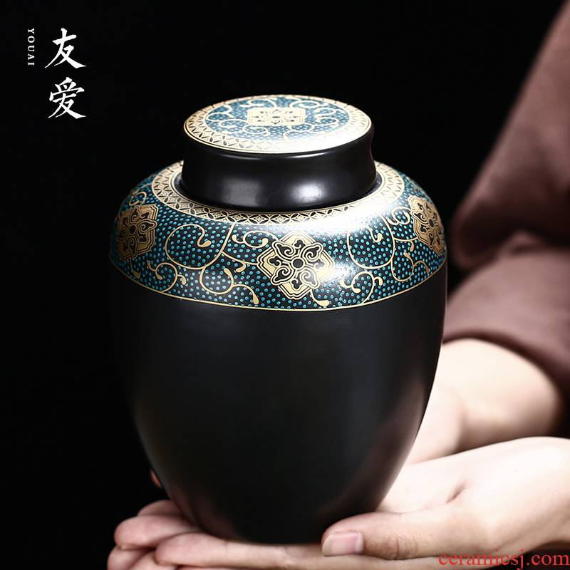 Love ceramic tea pot ancient green fuels the caddy fixings gifts large household ceramics seal pot of tea packaging
