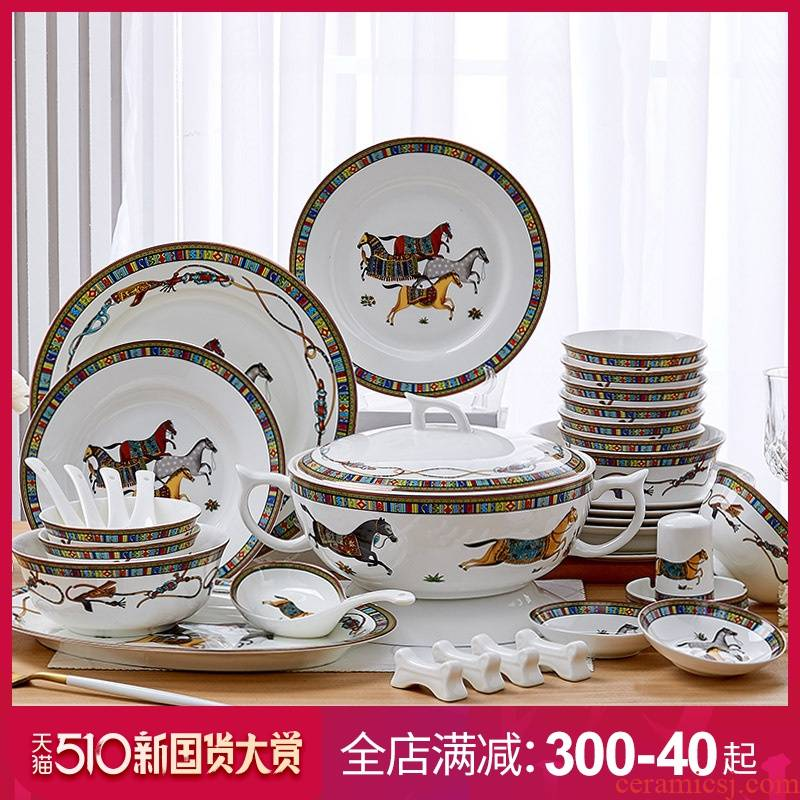 American dishes suit household tableware jingdezhen ceramics from horse ten bowl of bowls of ipads plate combination plate