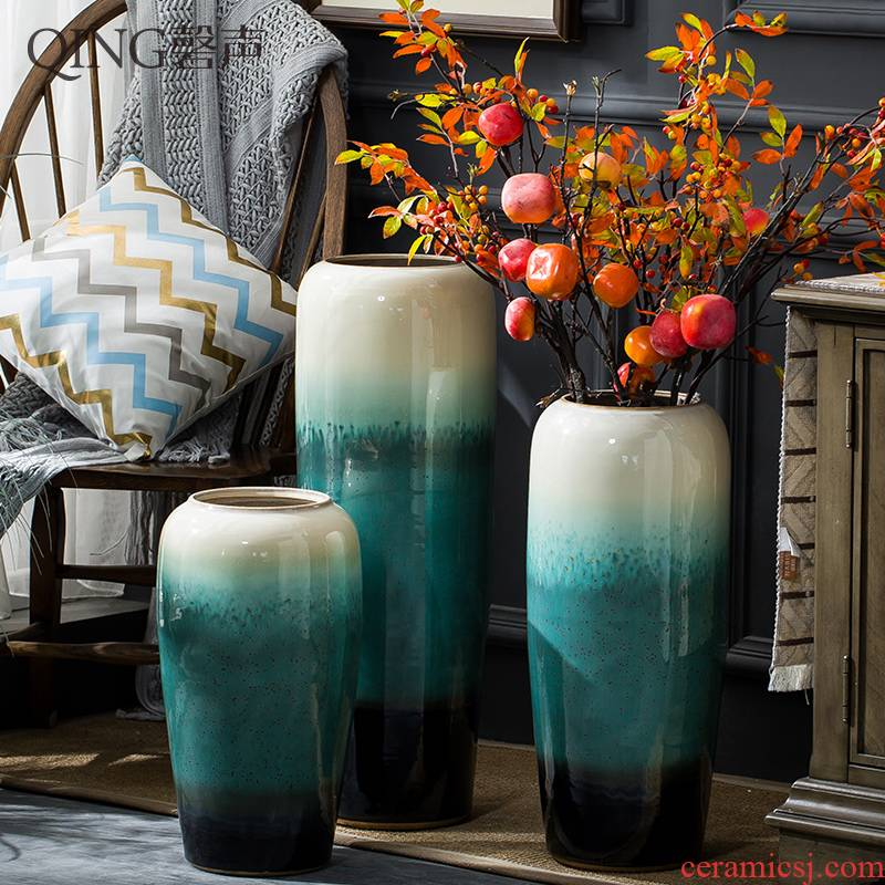Jingdezhen ceramic vase furnishing articles sitting room decoration to the hotel TV ark, contracted and I porcelain of dried flower arranging flowers fall to the ground