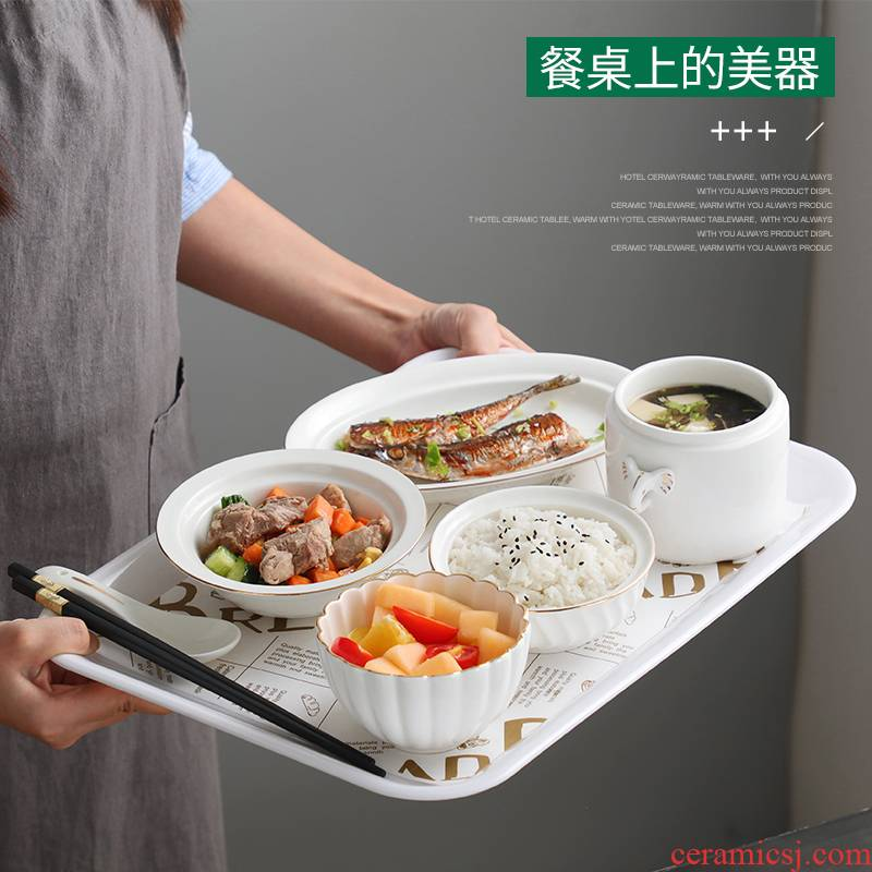 Maternal special ceramic tableware suit dishes environmental health high - grade with cover confined to offer them one meal stew soup bowl