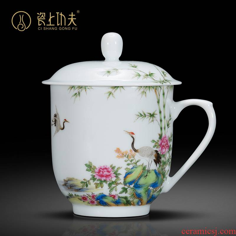 Jingdezhen porcelain handle cup flickr all hand colored enamel cranes bamboo kept the custom office cup gift