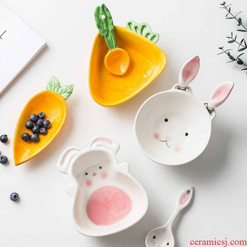 Japanese express animals ceramic tableware suit to eat bowl bowl spoon baby cartoon breakfast dishes home creative cuisine