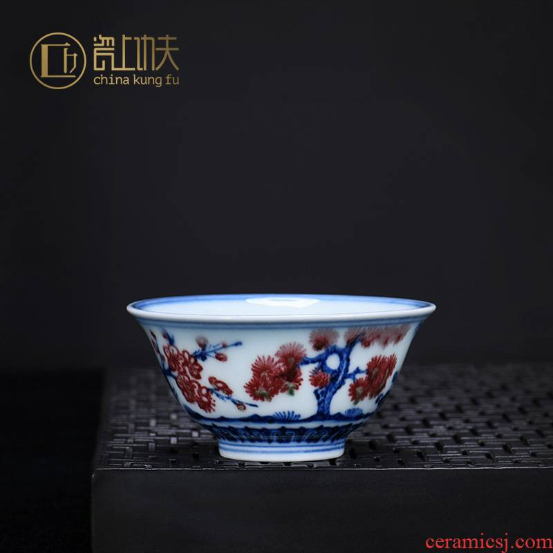 Jingdezhen blue and white youligong teacups hand - made ceramic kung fu master cup of pure manual single sample tea cup single CPU