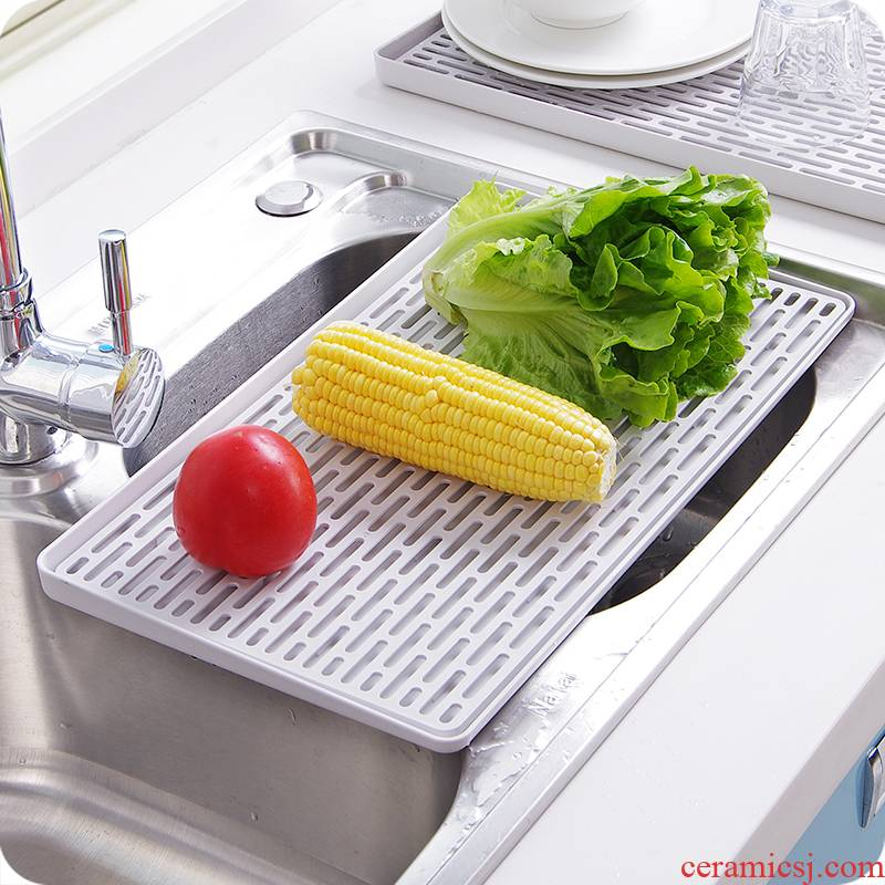 Plate glass, glass tray cups of household kitchen rectangular double drop large plastic multi - function type