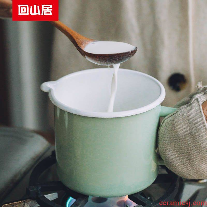 Back on milk green enamel breakfast milk cup of household kitchen rainbow such use induction cooker soup bowl