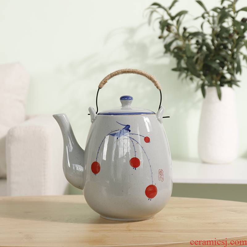 Large ceramic teapot handpainted vintage Japanese coarse pottery pot restaurant 2, 1.5 litres to girder teapot household cool water bottle