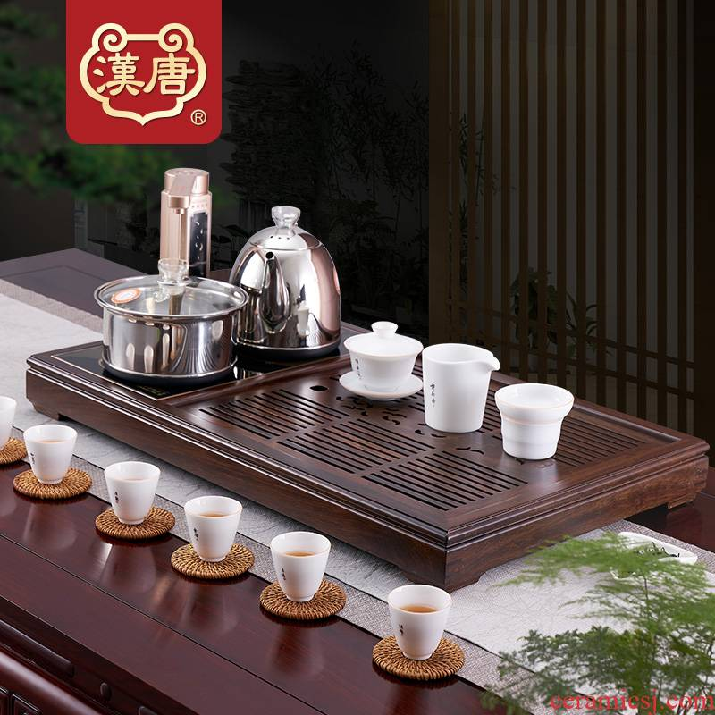Han solid wood tea tray was kung fu tea saucer suit large wooden tea table know household dry type tea sea