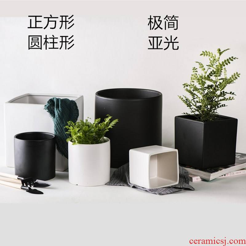 Ceramic POTS minimalist matte enrolled, black and white frosted tetragonal cylindrical heavy wind small flower pot