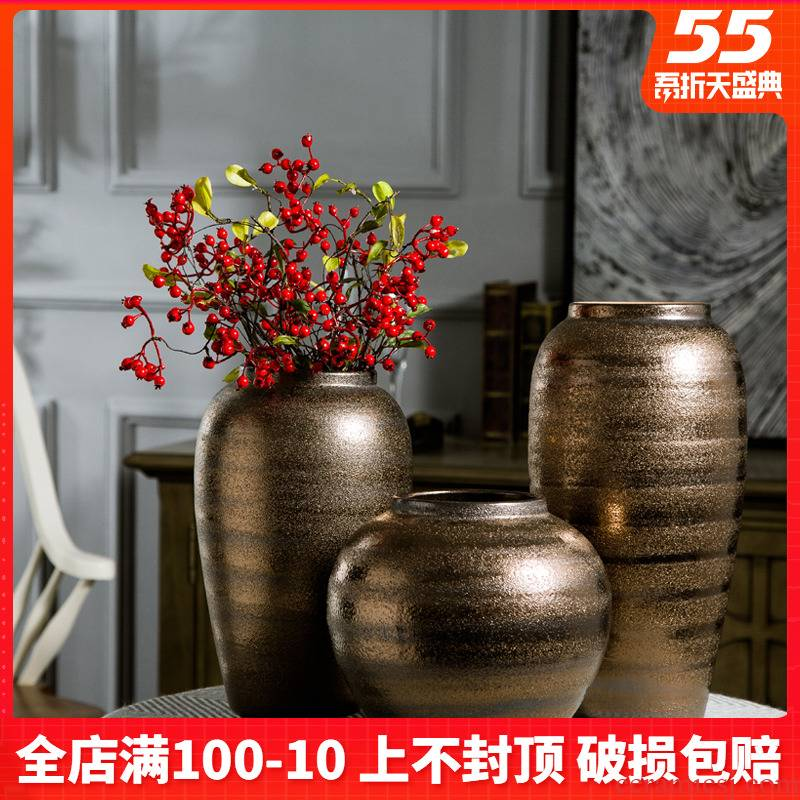 Jingdezhen coarse some ceramic pot pottery all over the sky star, dried flower vases, small pure and fresh and restore ancient ways the vase flower arranging furnishing articles sitting room