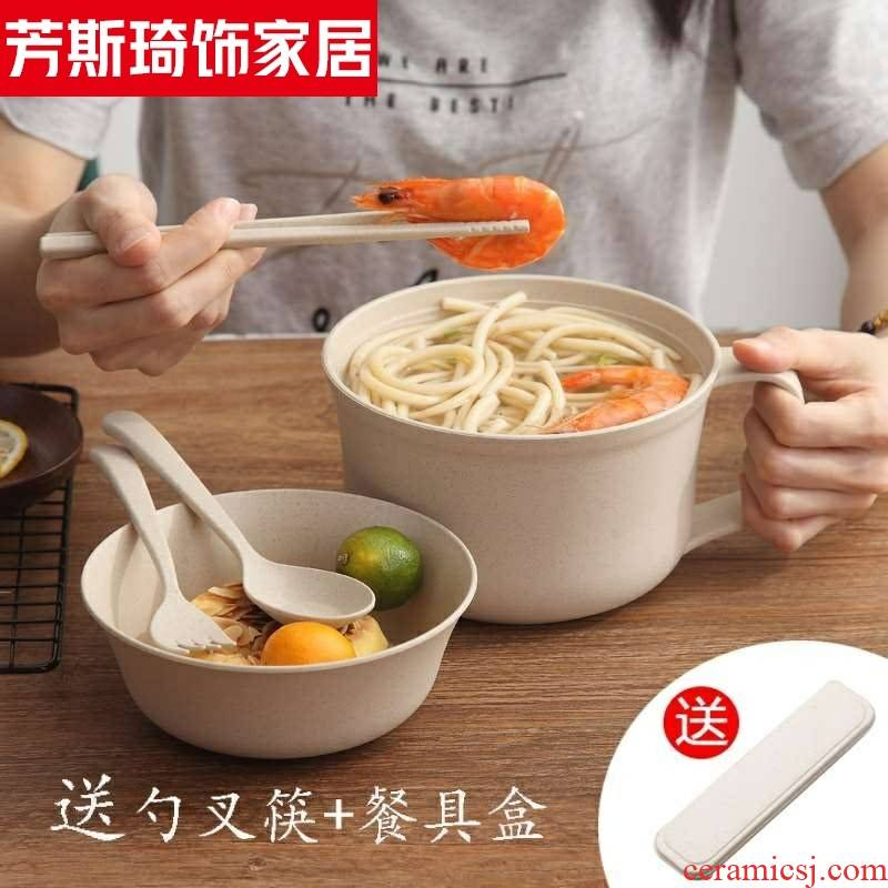 Green lunch box wheat straw was mercifully rainbow such as bowl with cover wheat straw tableware bento lunch box instant such use.