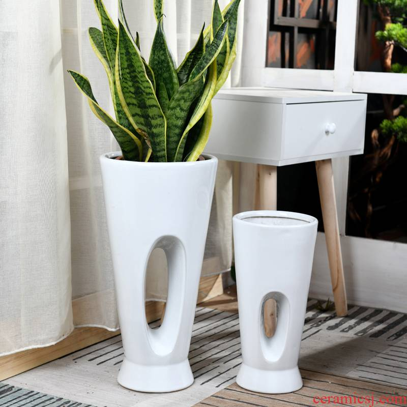 Of meat in the pot ceramic oversized contracted indoor green plant pot money tree tiger orchid basin wholesale package mail