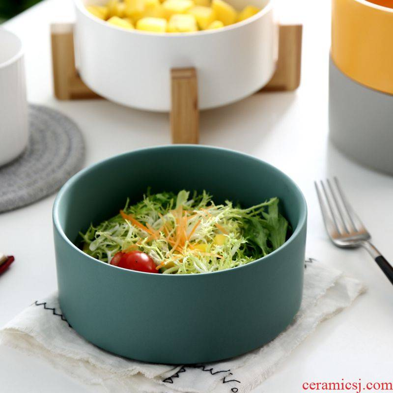Ceramic salad bowl fruit bowl noodles soup bowl 6.2 inches microwave baking pan with breakfast dishes
