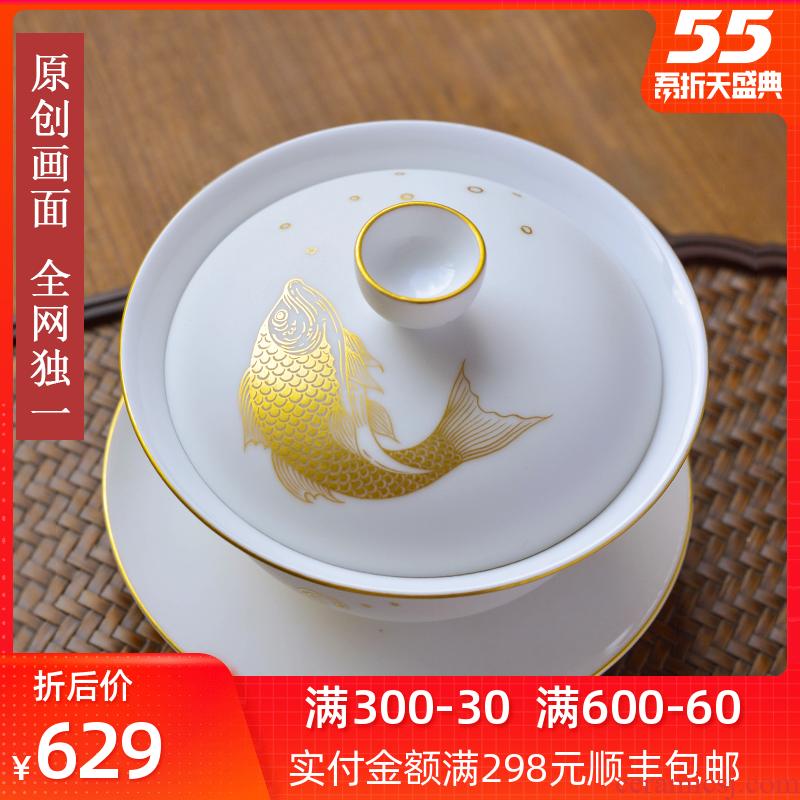 All hand - made tureen tea cups a single pure the original jingdezhen kung fu tea set pure manual three big white porcelain bowl