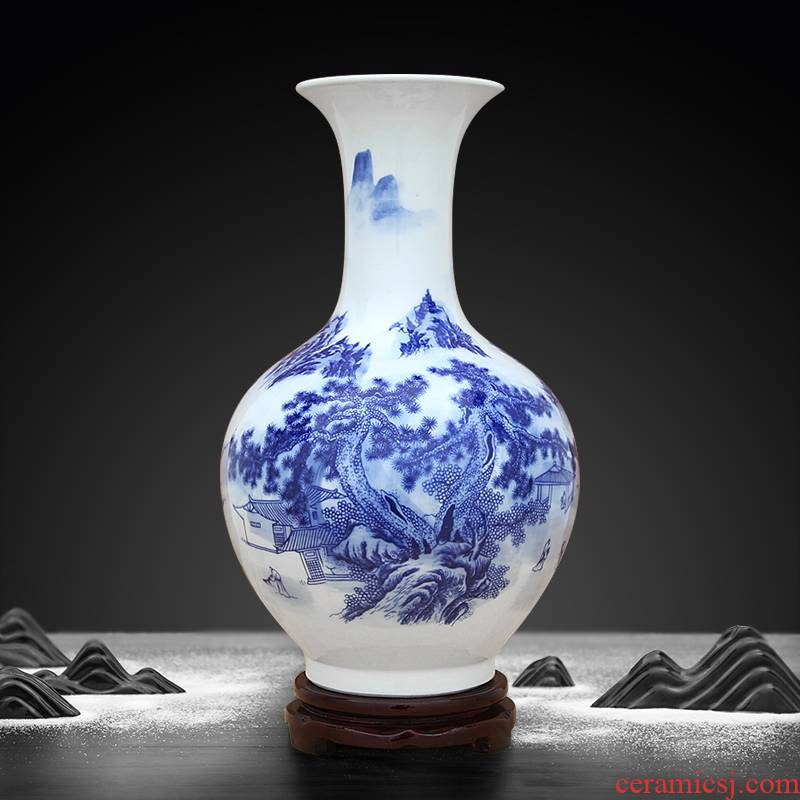 Blue and white porcelain vase and furnishing articles of jingdezhen ceramics Chinese flower arranging sitting room porch craft bottle ornament