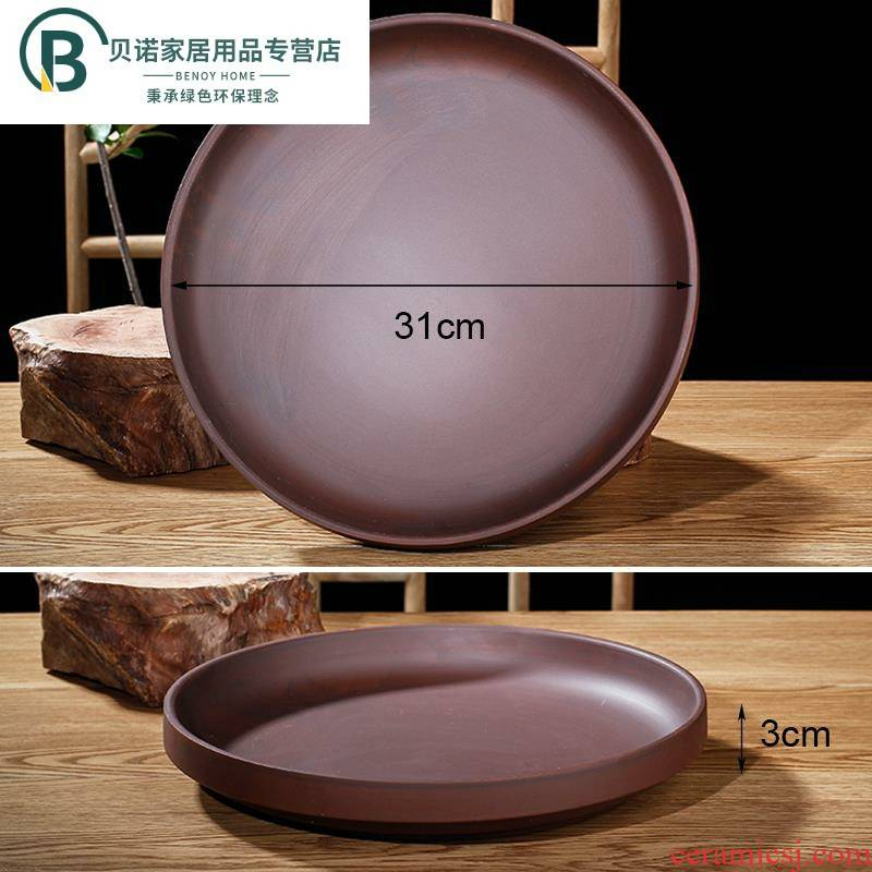 Meaty plant POTS ceramic purple mobile big tray was water disc pad plate tap ceramic round large chassis
