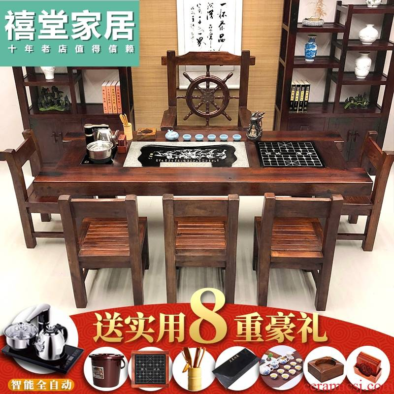 The old ship wood tea table and chair combination of new Chinese ancient zen tea sets of solid wood office kung fu tea table of The tea table