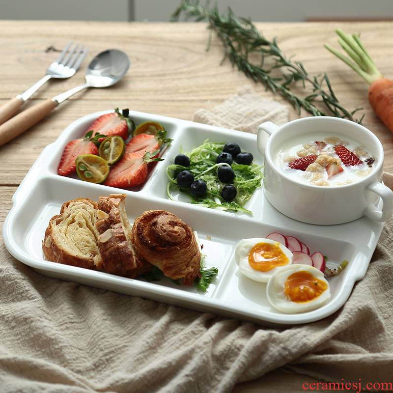 Creative plate frame plate ceramic tableware particulary if plate reduced fat children home fast food multi - function FanPan dish
