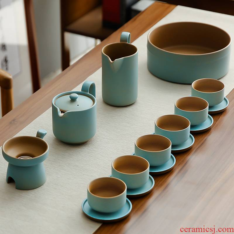 Bo yiu-chee Japanese coarse pottery contracted kung fu tea set of household ceramic teapot teacup bamboo dry mercifully consolidation