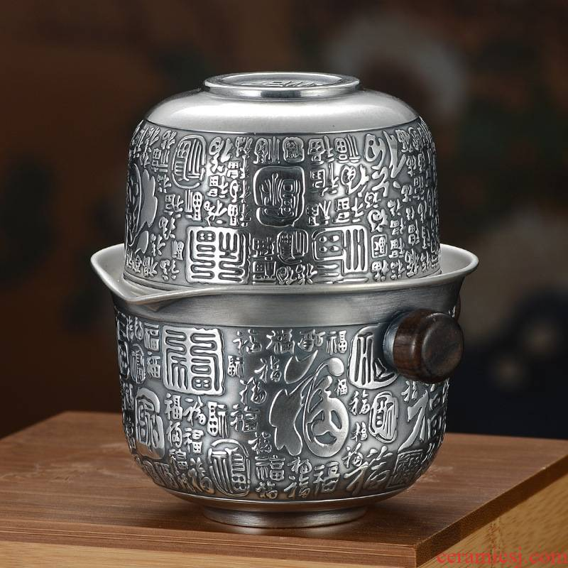 Fine silver 999 crack of ink cup portable travel silver teapot teacup with silver pot of kung fu silver tea set