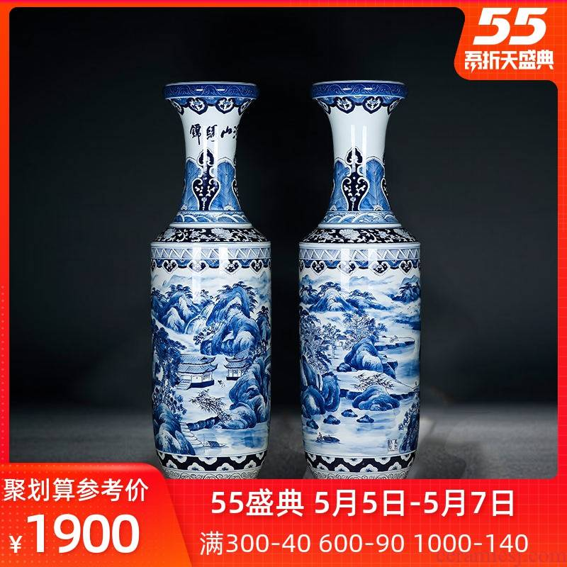 Jingdezhen ceramics high ground large blue and white porcelain vase Chinese style furnishing articles hall hotel opening hand - made of scenery