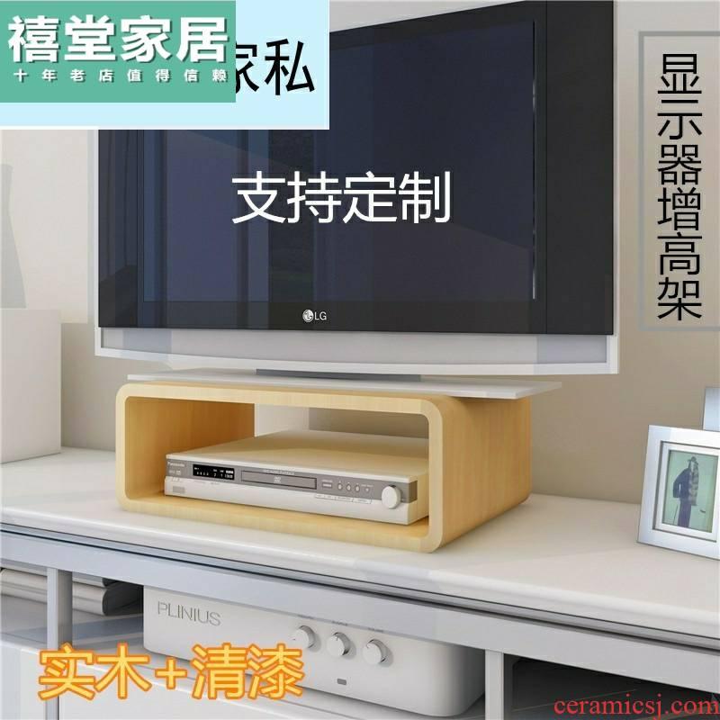 Real wood the TV pad high shelf brackets increased the set - top box display shelf supporter TV ark base