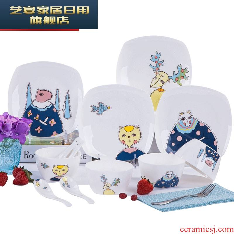 Dishes suit household square Chinese Dishes ipads porcelain of jingdezhen ceramics cartoon creative lovely tableware suit