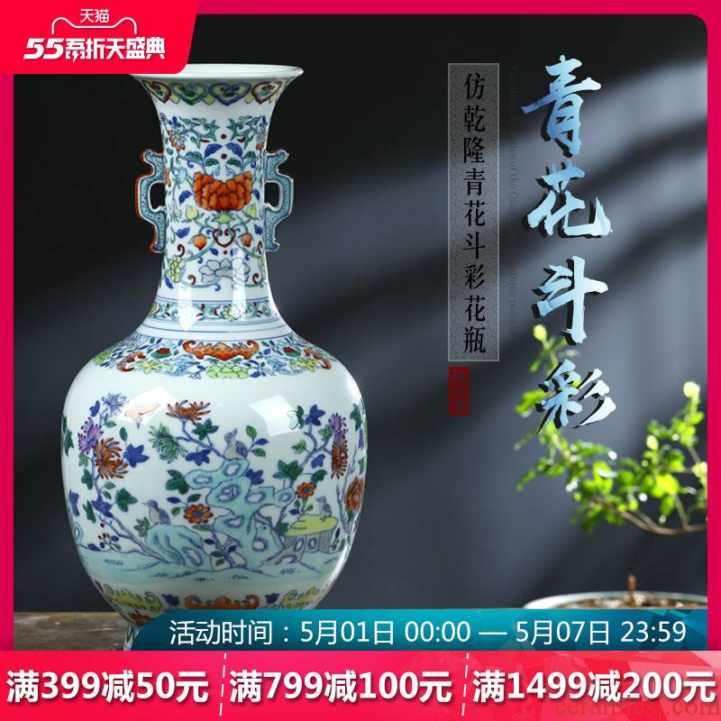 Jingdezhen ceramics archaize bucket color of blue and white porcelain vase furnishing articles home sitting room TV ark adornment arranging flowers