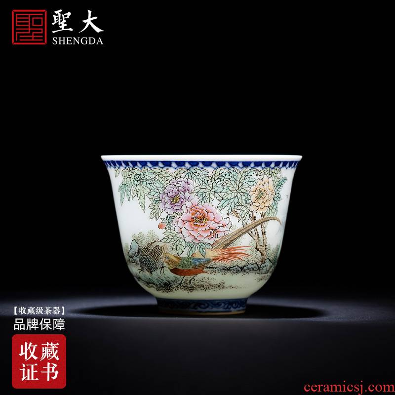Santa teacups hand - made ceramic kungfu pastel notes hall riches and honour the bell cup cup all hand of jingdezhen tea service master