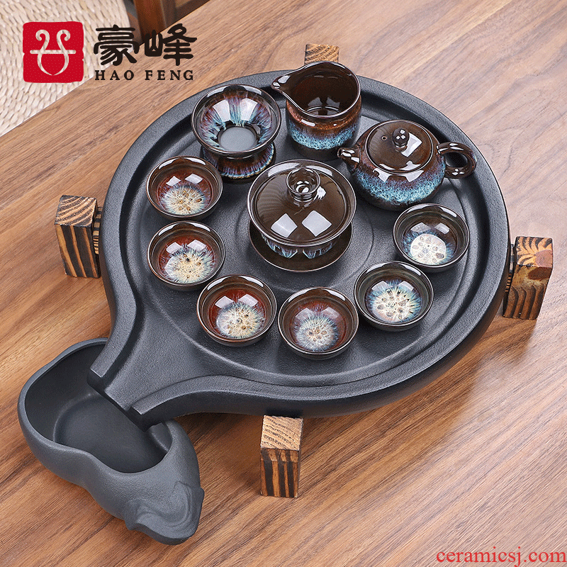 HaoFeng violet arenaceous stone mill tea set ceramic teapot water small household kung fu tea saucer tea tea tray