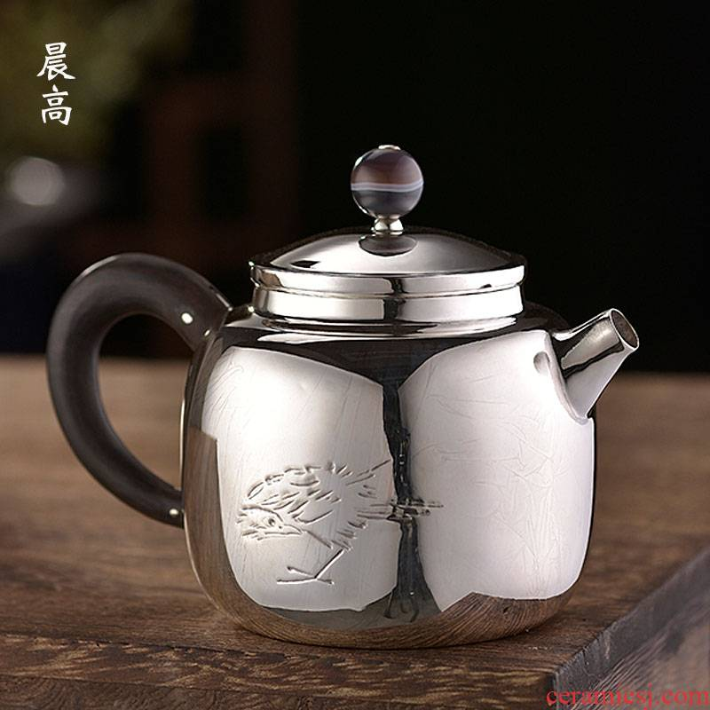 Morning high become saybot carve engraves the bird 999 silver pot pot all hand kung fu tea teapot big silver pot