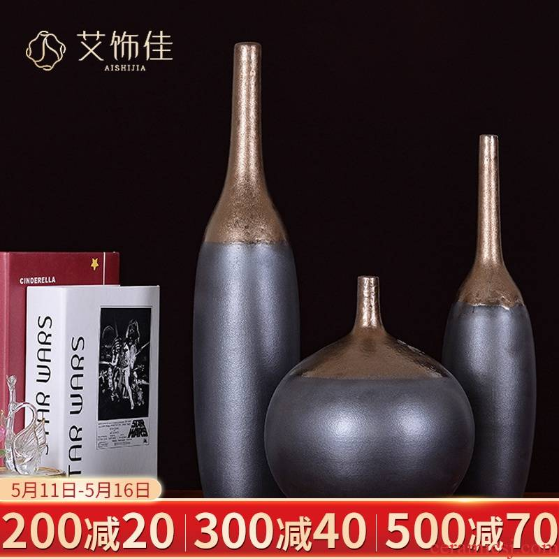 Checking out ceramic vase furnishing articles of jingdezhen ceramic vases, new Chinese style flower creative metal glaze pointed expressions using bottle