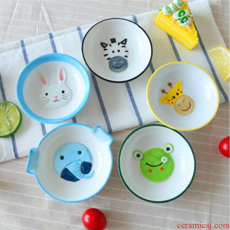 Jingdezhen ceramic small animals rabbits under the glaze color hand - drawn cartoons oil vinegar dish of soy sauce dish dish