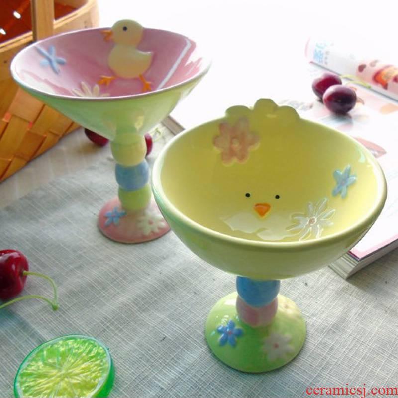 Jingdezhen ceramic fruit bowl of chicken lovely cartoon animals mark cup of snack dessert ice cream bowl