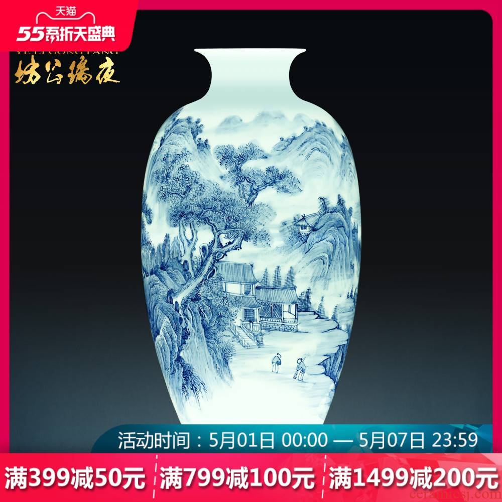 Jingdezhen blue and white porcelain vases, pottery and porcelain large hand - made songshan friends sitting room place of new Chinese style household act the role ofing is tasted