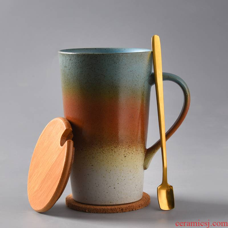 Glass ceramic keller with spoon tea cup to restore ancient ways household picking cups of coffee cup creative move trend