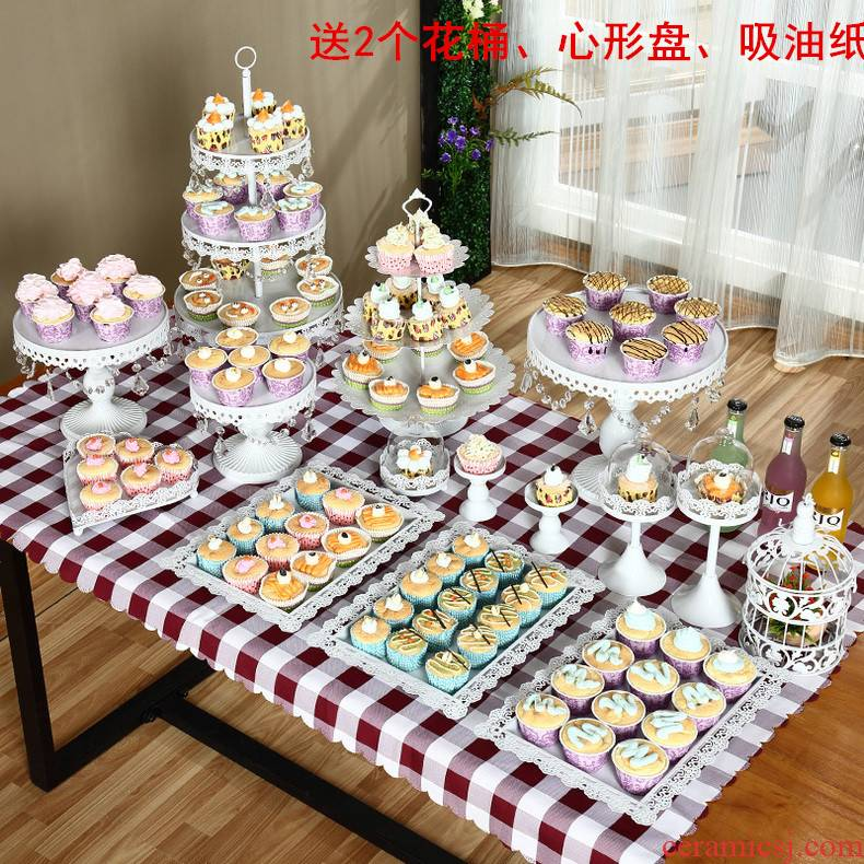 Dessert table furnishing articles show heart cake tray afternoon tea shelf rack European - style multilayer buffet table tea