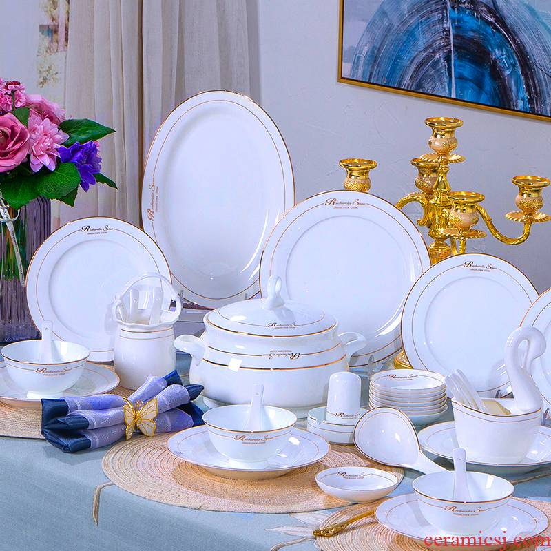 Antarctic treasure combination suit home dishes European - style ipads porcelain tableware dishes chopsticks Chinese ceramic bowl dish to eat