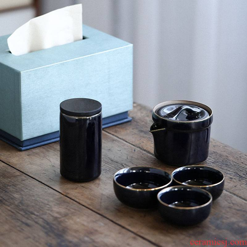 Porcelain heng tong ji blue to crack a pot of three small POTS travel tea set gift boxes of household contracted teapot