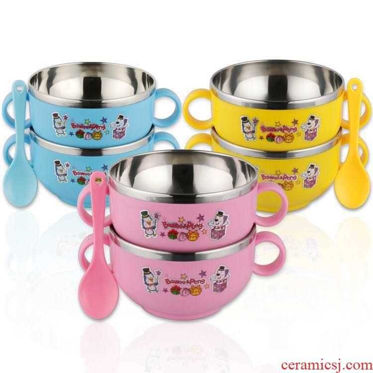 Bo view baby 304 stainless steel tableware children iron bowl against falling eat rice bowl with cover ears handle pupil