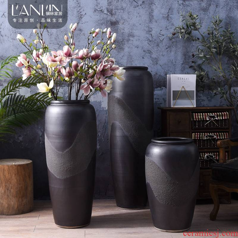 Chinese style restoring ancient ways do old dried flower arranging flowers is placed, the hotel ground ceramic vase in the sitting room porch large creative vase