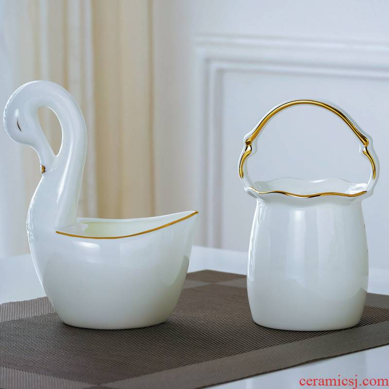 Jingdezhen porcelain hand - made ipads up phnom penh swan tablespoons of flower basket with small spoon, household ceramics