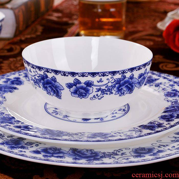 Jingdezhen blue and white porcelain tableware suit ceramic dishes 56 skull bowls disc suit household of Chinese style of high - grade housewarming