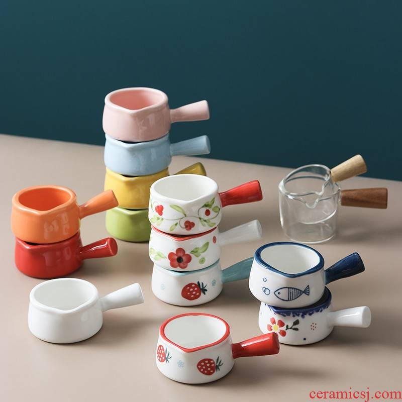 Y Japanese ceramics have the mini little milk pan, milk pot of milk cup milk as cans with the handle milk coffee cup sauce dish