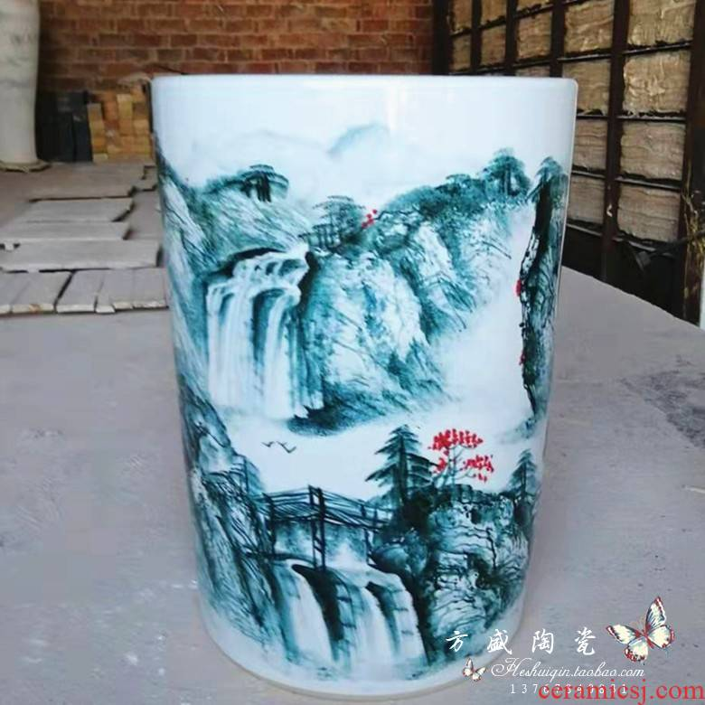 Round straight hand made blue and white porcelain vase painting and calligraphy barrels quiver of jingdezhen ceramic vase landing place