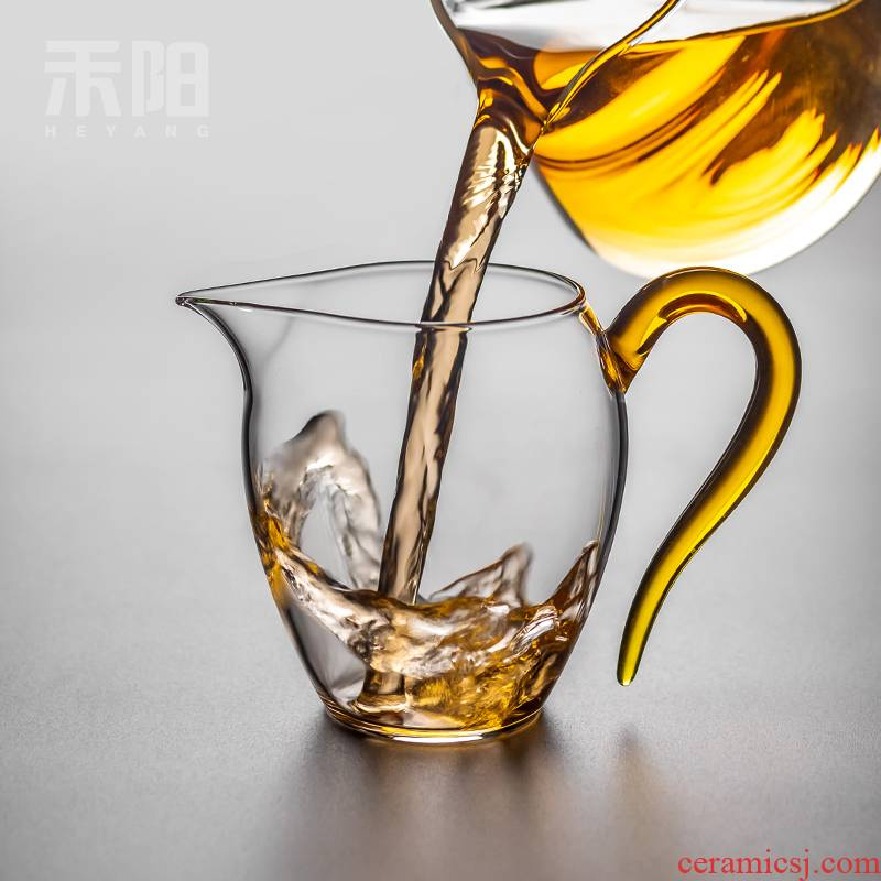 Reasonable settlement Yang glass cup upset heat - resistant kung fu tea set the components of the filter tea sea points home and cup size